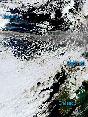 Volcanic  ash sweeping across northern Europe