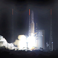 Ariane 5 ECA V170 lifts off from Europe's Spaceport with its dual payload of the HOT BIRD™ 7A and SPAINSAT telecommunications spacecraft