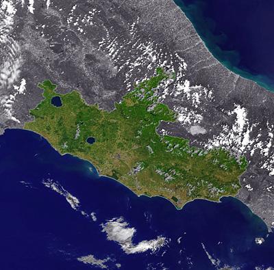 Il Lazio visto dallo spazio