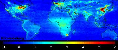Global air pollution map