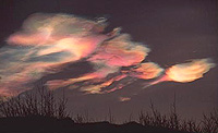 Polar stratospheric clouds are often referred to as mother-of-pearl clouds because of their iridescent appearance. These clouds form in altitudes between 20 and 30 kilometres when temperatures drop to minus 80 degrees Celsius and play a vital role in ozone destruction.