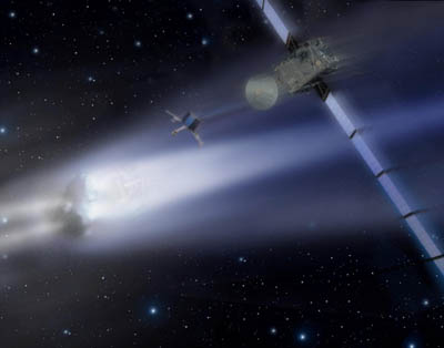 An artist's impression of the Rosetta orbiter and lander