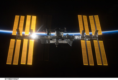 Internationl Space Station with sunrise