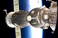 Soyuz spacecraft docked to Station