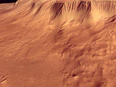 Les flancs du volcan Olympus Mons vus en trois dimensions grâce à la caméra HRSC de Mars Express (crédit : ESA/DLR/FU Berlin - G. Neukum)