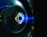 Close-up view of SMART-1's stationary plasma thruster