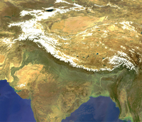 Satellite image of the Himalayan region taken by Envisat's MERIS