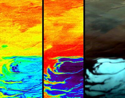 Omega a observé la calotte polaire le 18 janvier. De gauche à droite : l'eau (H2O) sous forme de glace, le dioxyde de carbone (CO2), et la photo en couleurs réelles. Crédit ESA