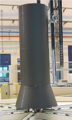 Monolithic CFRP central tube manufactured using fibre placement