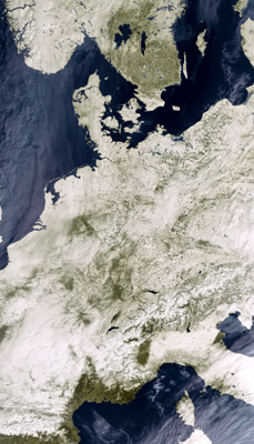 satellite image of snow-covered Europe