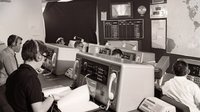 Control room at ESOC, the European Space Operations Centre, Darmstadt, Germany, in 1969.