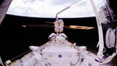 ESA's European Retrievable Carrier (Eureca) seen during deployment from Space Shuttle Atlantis (STS-46) on 2 August 1992.