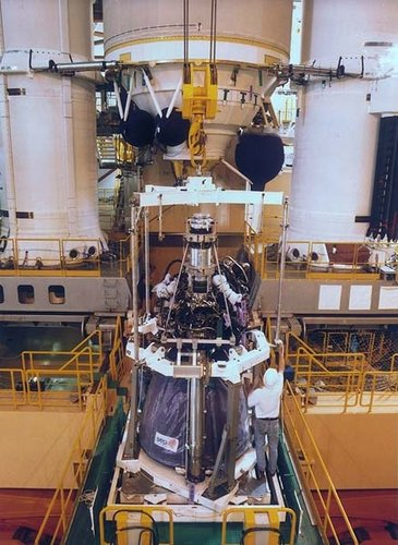 Ariane-5 Vulcain main engine attached