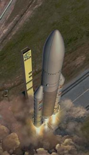 Artist's impression of Ariane-5 launch.