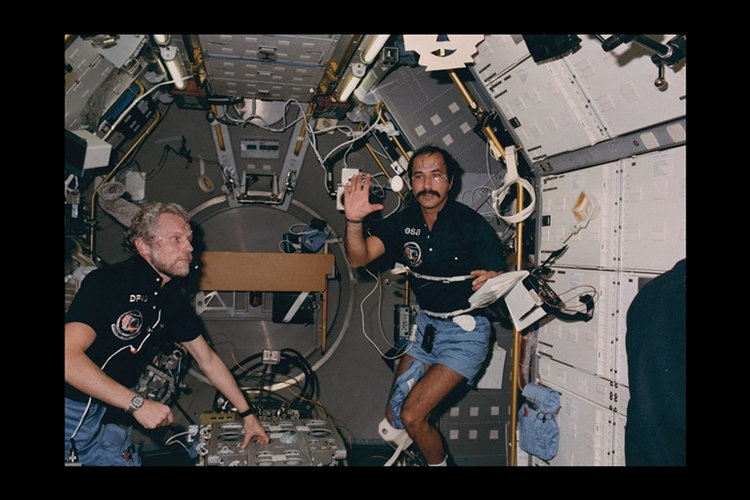 Ockels and egg aboard Spacelab