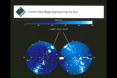 Soho images Comet Hale-Bopp approaching the Sun