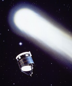 Artist's impression of Giotto and Comet Halley
