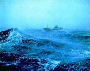 A shipping trawler in high seas