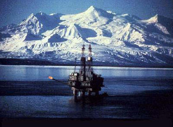 An oil rig in the Cook Inlet, US.