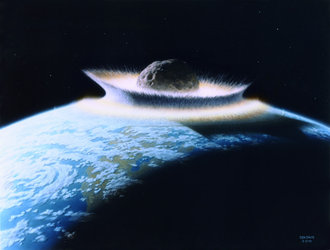 Artist's impression of asteroid impact with Earth