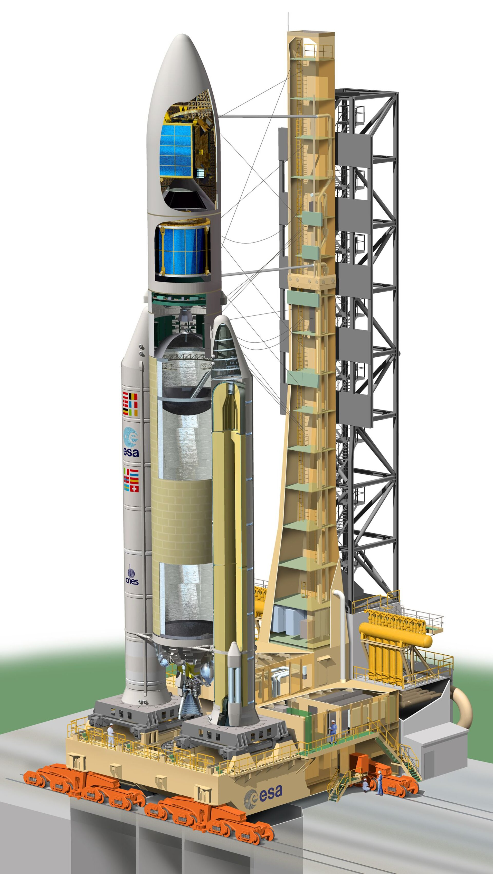 Cut open view of Ariane 5 on the launch pad