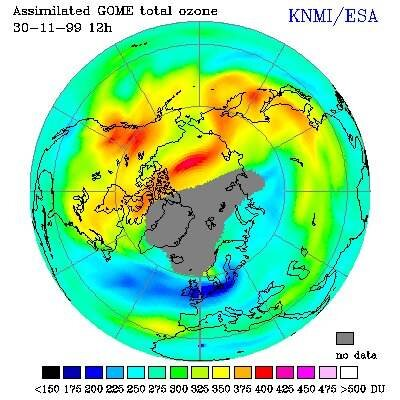ERS-2/GOME map of ozone thinning over Europe