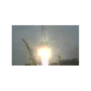 Launch Expedition one crew onbaord Soyuz rocket (BBC)