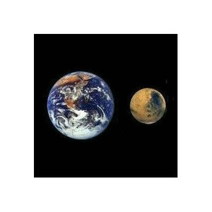 Size comparison between Earth and Mars