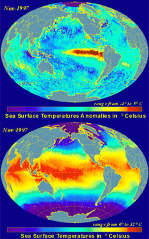 Temperature and Anomalies in November  1997