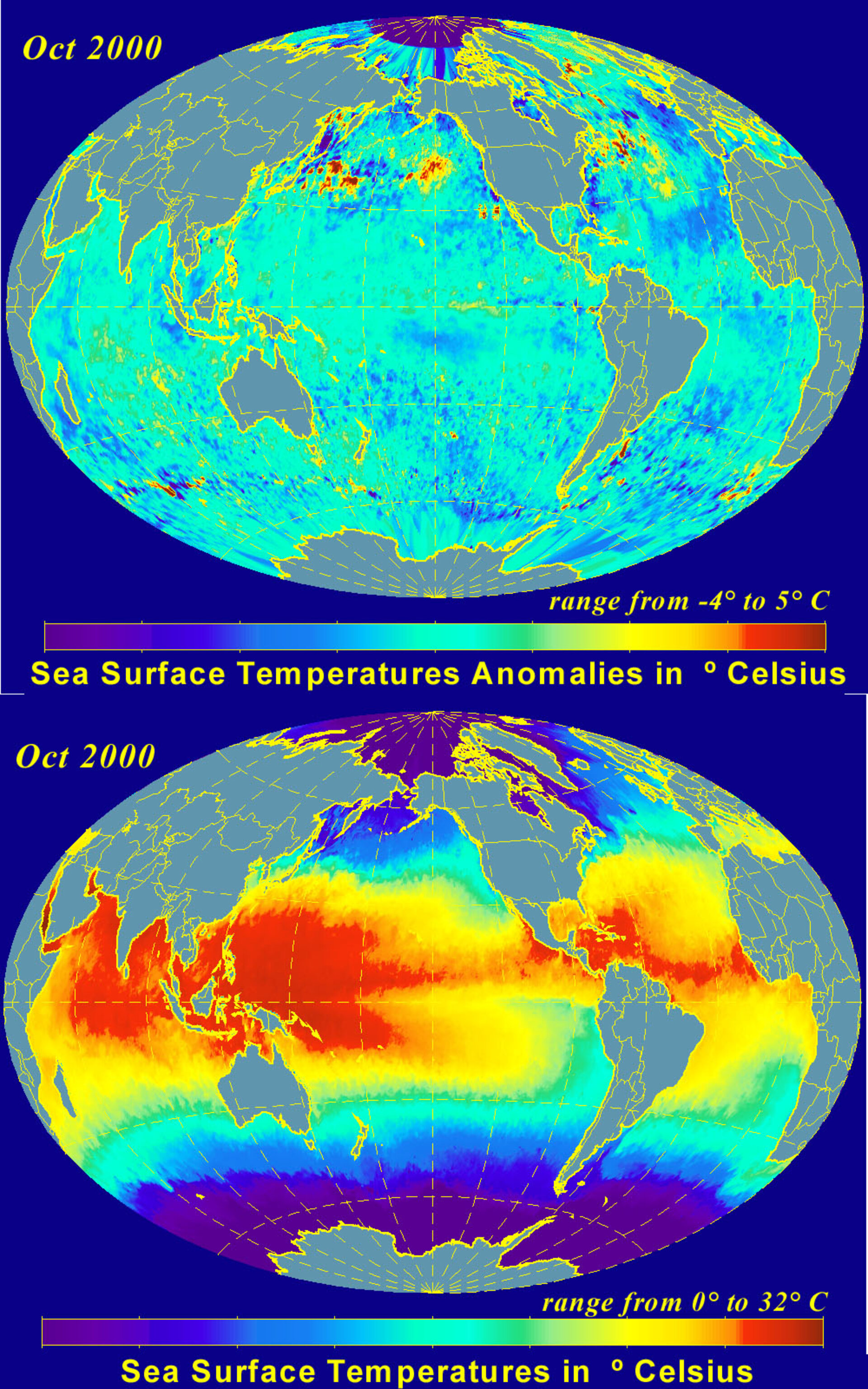 Temperature and Anomalies in October 2000