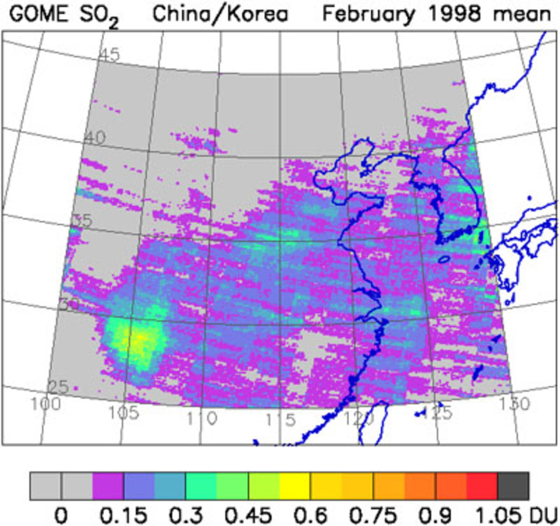 Sulfur dioxide emission over China as measured by GOME
