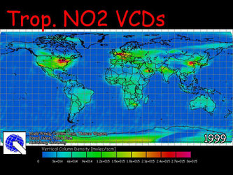 Yearly map of global tropospheric nitrogen dioxide