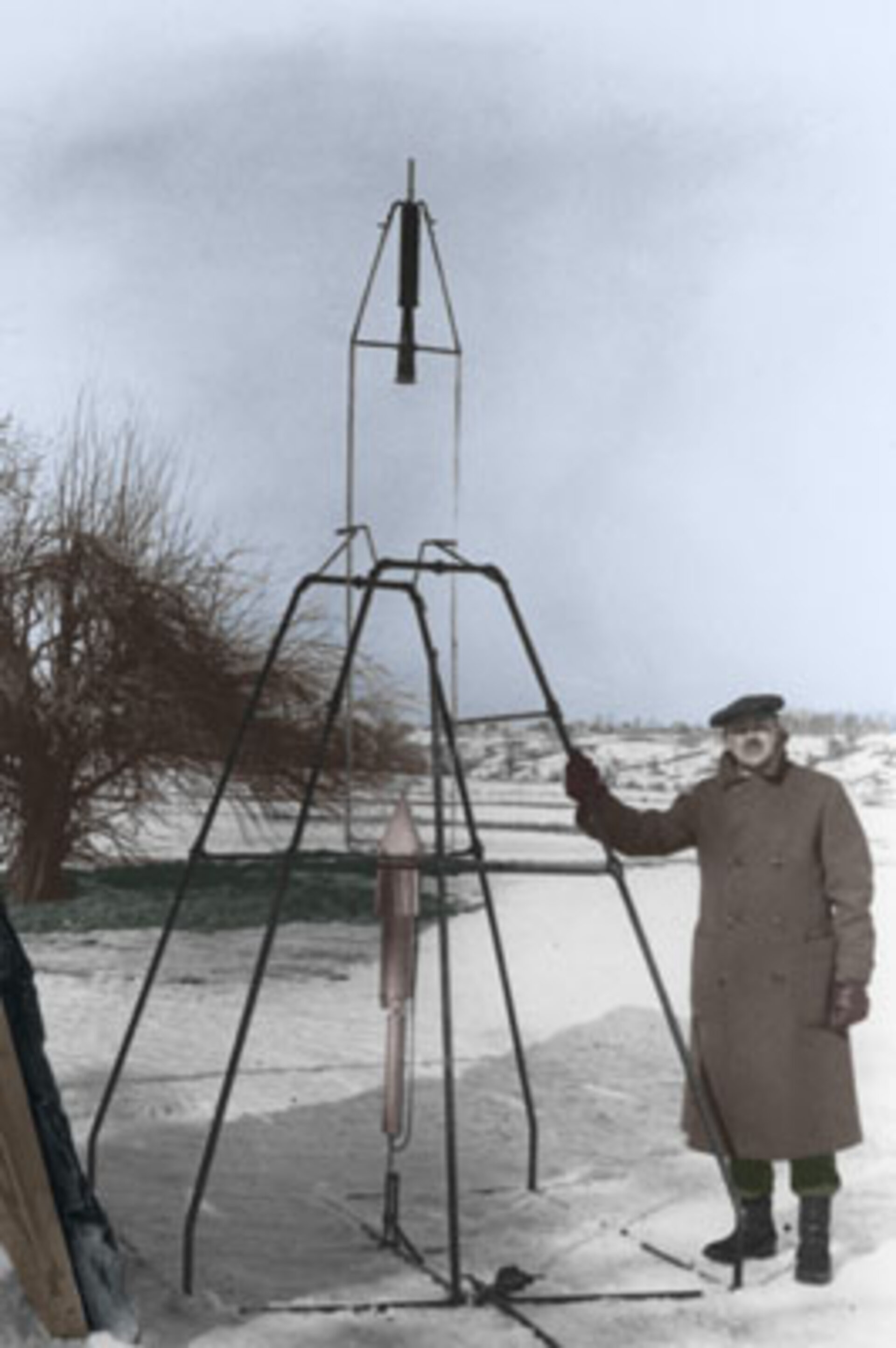 The first liquid-fueled rocket