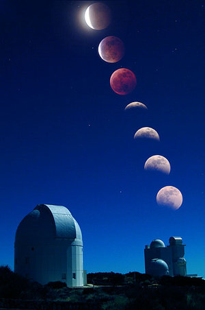 Lunar eclipse at the Observatorio del Teide, Tenerife