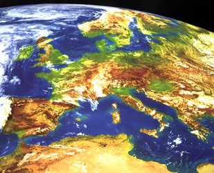 Meteosat - artificially coloured area Europe