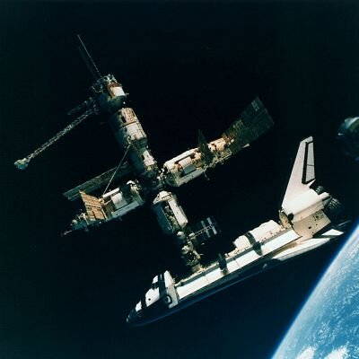 Space Shuttle docked with Mir