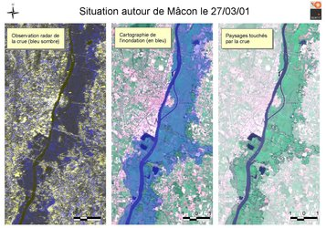 Satellite images of flooding around Macon, France