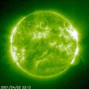The solar flare of 2 April 2001 observed by the EIT on SOHO
