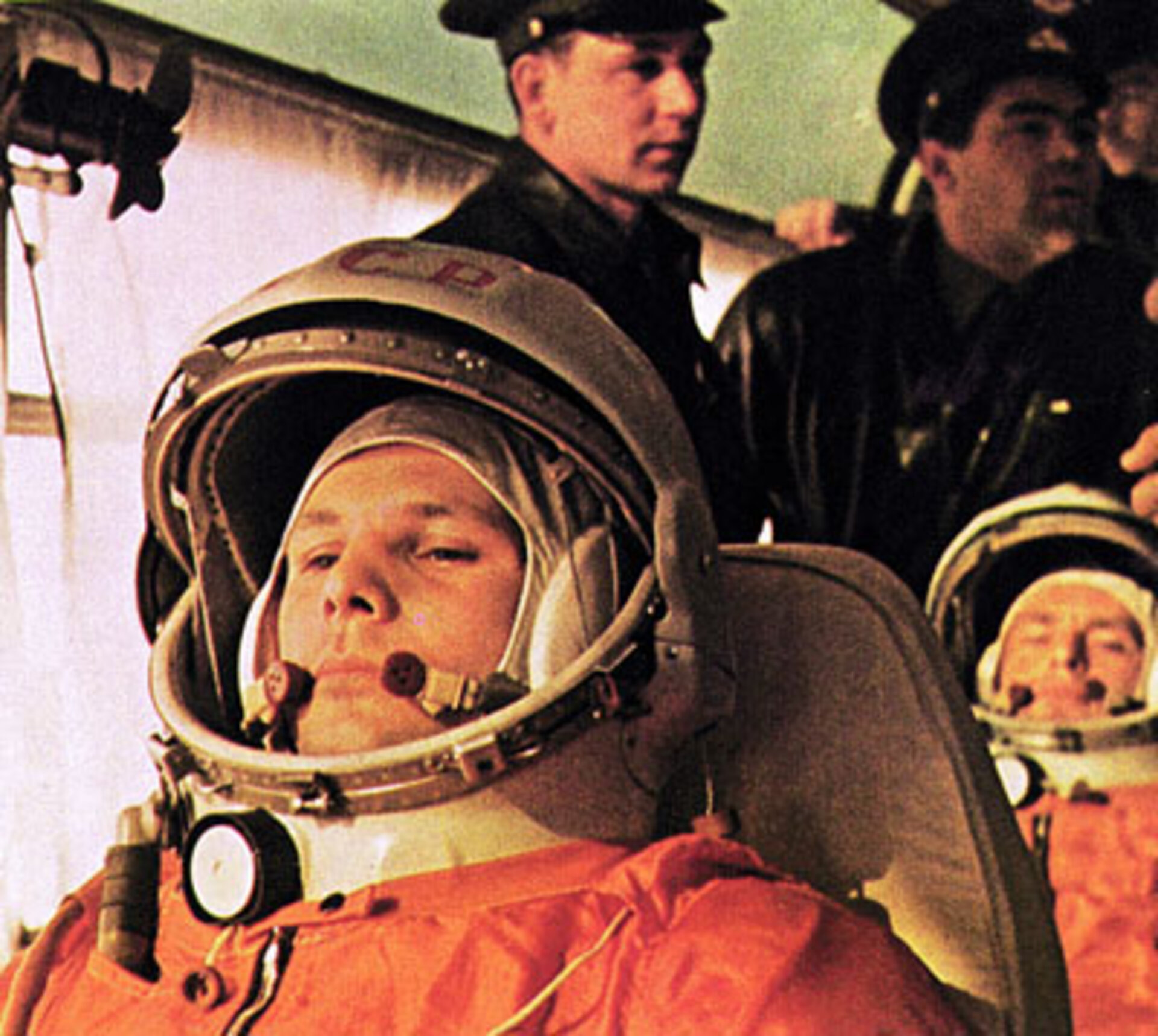 Yuri Gagarin on his way to the launch pad