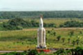 Transfer of Ariane 504 to the launch pad.