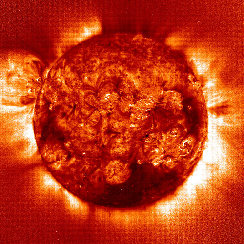 A temperature map of the Sun's corona as recorded by the EIT instrument on SOHO