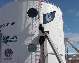 ESA flag floating on the Habitat