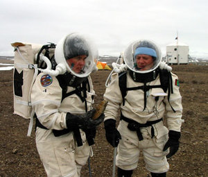 Katy and Vladimir in EVA suits