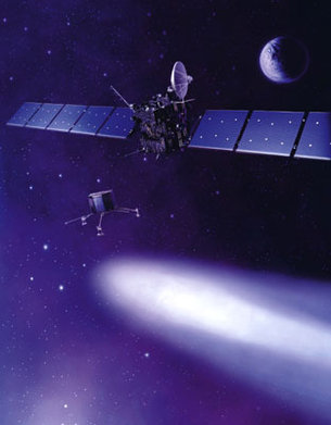 An artist's impression of the Rosetta orbiter and lander approac
