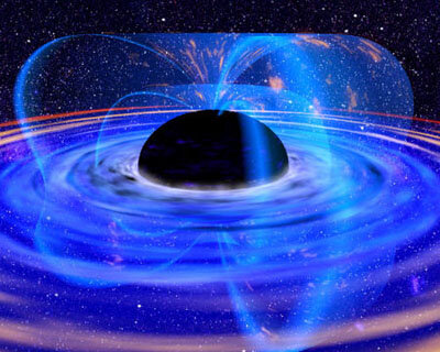 Black hole monster in a spin releases energy