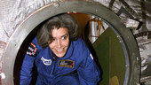 Claudie Haignere climbs out of the Soyuz