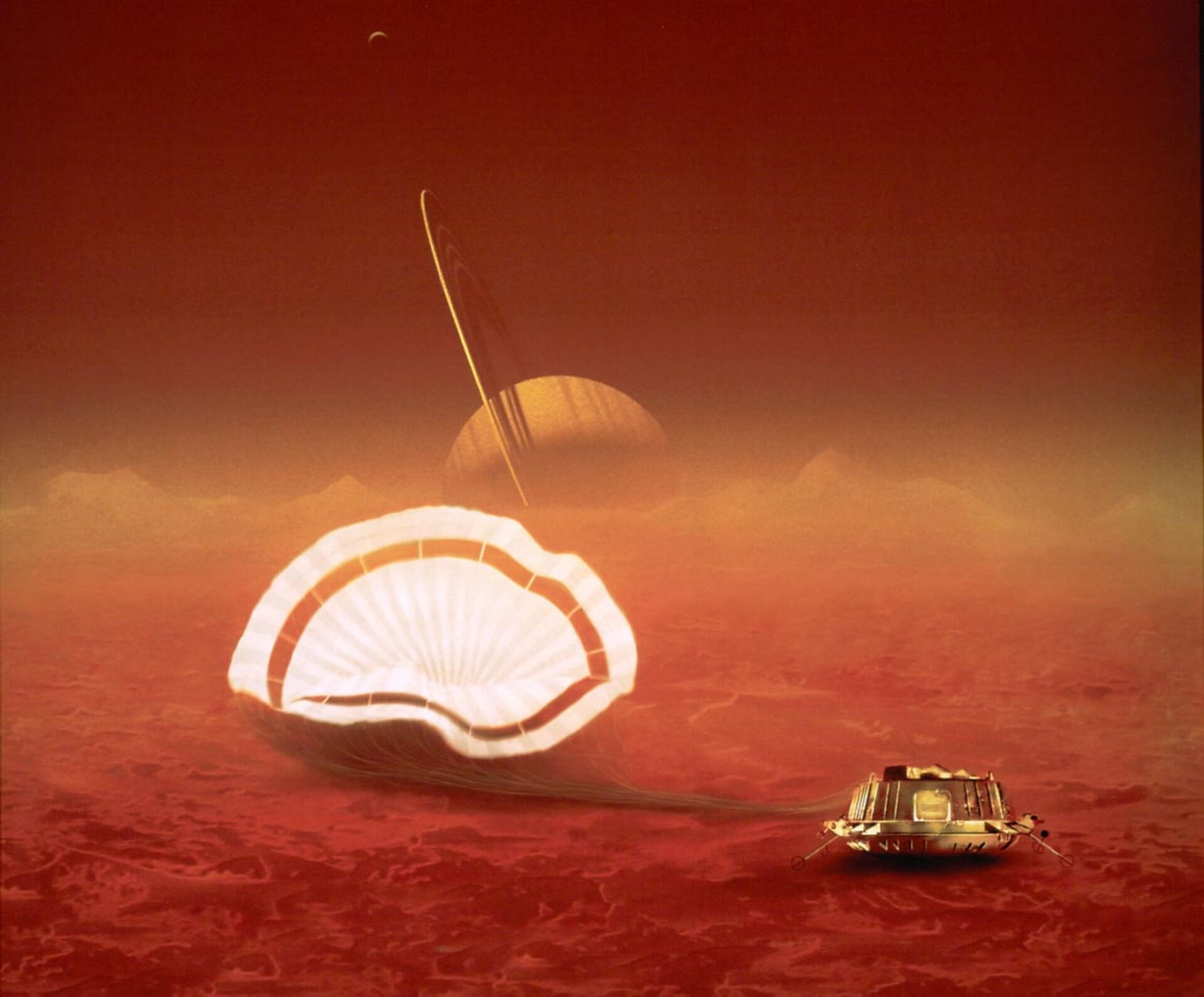 Artist's impression of ESA's Huygens probe on Titan