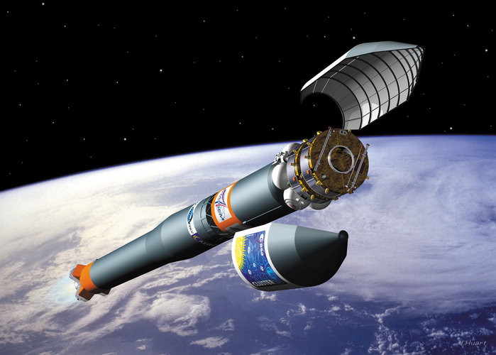 Artist's impression of launcher carrying two Cluster spacecraft into orbit