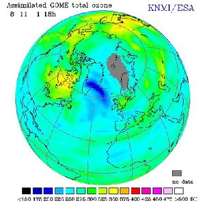 Assimilated GOME total ozone 8 November 2001