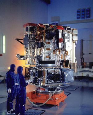 Integration test of ESA's satellite Solar and Heliospheric Observatory (SOHO) at Toulouse (France) in April 1995.